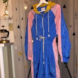 Mira mikati long sleeve parka trench blue pink 6